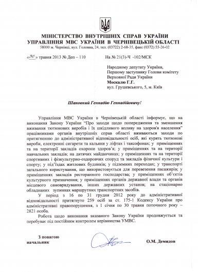 Ситуація щодо Кіцманського технікуму та боротьба з тютюнопалінням на Буковині