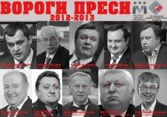 «Вороги преси» за версією НМПУ та ІМІ – Азаров, Янукович, Захарченко, Княжицький та інші