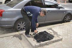На вул. Ватутіна біля будівлі Чернівецької ОДА ложками засипають пеньки