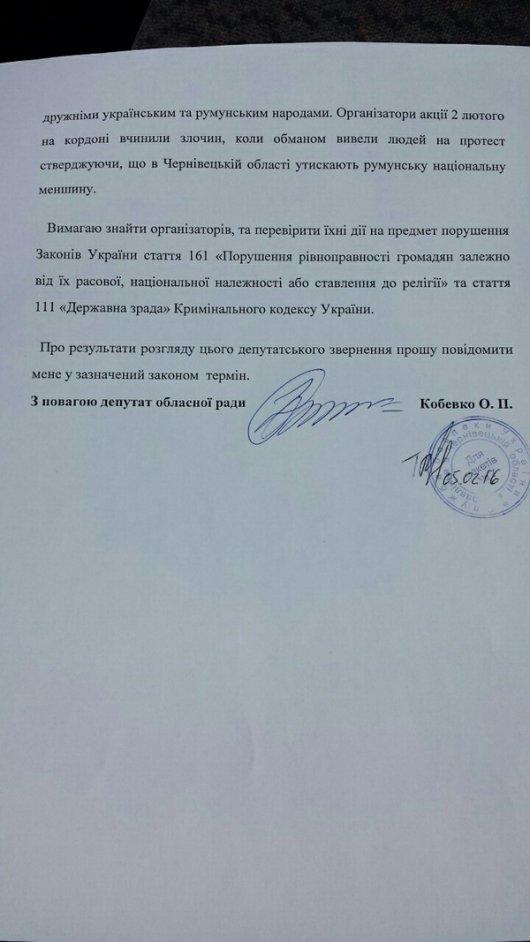 Депутат Чернівецької обласної ради Ольга Кобевко вимагає від СБУ знайти провокаторів, які вчинили злочин на кордоні
