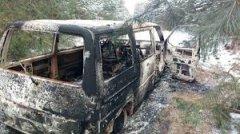 Контрабандисти, втікаючи від охоронців кордону, спалили мікроавтобус з сигаретами